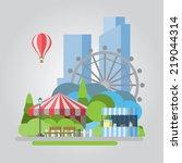 modern flat design park... | Shutterstock .eps vector #219044314