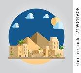 Flat Design Of Desert Village...