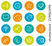 set of hand drawn social icons... | Shutterstock .eps vector #219061498