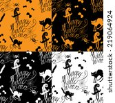 halloween seamless pattern with ... | Shutterstock .eps vector #219064924