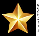 Vector Gold Star On Black...
