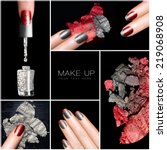 Makeup and nail art trend. Trendy manicure and make-up set. Five Isolated macro pictures over black background. Manicure and makeup concept. Eye shadows and nail polish in red and silver - stock photo