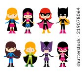 cute superhero girl vector clip ... | Shutterstock .eps vector #219078064