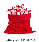 Santa Claus Red Bag With Gifts...