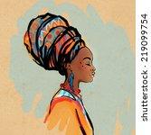 portrait of beautiful african... | Shutterstock .eps vector #219099754