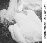 beautiful caucasian bride in... | Shutterstock . vector #219104224