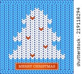 merry christmas knitted card ... | Shutterstock .eps vector #219118294