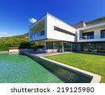 luxury villa with infinity pool   Shutterstock . vector #219125980