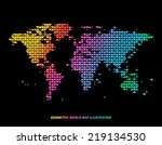 colorful world map illustration ... | Shutterstock .eps vector #219134530