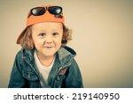 fashion child. happy boy model. ... | Shutterstock . vector #219140950