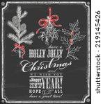 hand drawn merry christmas card ... | Shutterstock .eps vector #219145426