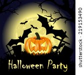 happy halloween party poster | Shutterstock .eps vector #219153490
