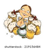 oktoberfest girl with glass of...