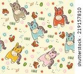 sweet babies doodle seamless... | Shutterstock .eps vector #219157810