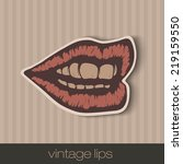vintage paper lips  mouth red... | Shutterstock .eps vector #219159550