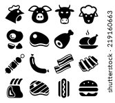 meat black icon set isolated ... | Shutterstock .eps vector #219160663