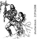 warrior and a girl vector | Shutterstock .eps vector #21916288