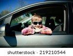 little cute boy driving fathers ... | Shutterstock . vector #219210544