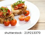 bruschetta with grilled bread ... | Shutterstock . vector #219213370