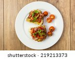 plate with italian bruschetta...   Shutterstock . vector #219213373