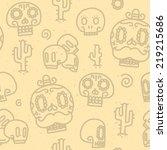 sugar skulls sand seamless...   Shutterstock .eps vector #219215686