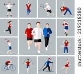 sport and leisure people... | Shutterstock .eps vector #219218380