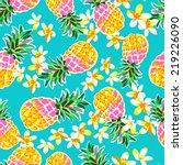 cute pineapples   seamless... | Shutterstock .eps vector #219226090