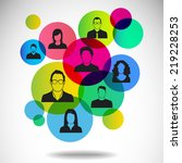 people icons with colorful... | Shutterstock .eps vector #219228253