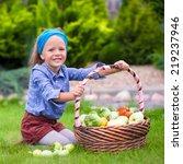 portrait of little girl with... | Shutterstock . vector #219237946