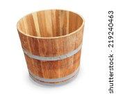 Wooden Bucket Isolated On Whit...