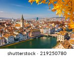 downtown of zurich at sunny day | Shutterstock . vector #219250780