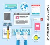 blogging concept in flat design ... | Shutterstock . vector #219262933