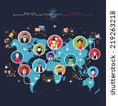 social media network connection ... | Shutterstock . vector #219263218