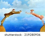 a pair blindfolded approaches... | Shutterstock . vector #219280936