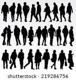 people silhouettes | Shutterstock .eps vector #219286756