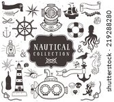vintage hand drawn elements in... | Shutterstock .eps vector #219288280