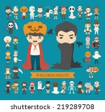 set of 40 halloween costume... | Shutterstock .eps vector #219289708