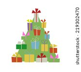 christmas tree with gift boxes... | Shutterstock .eps vector #219302470