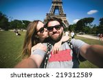happy smiling couple kissing... | Shutterstock . vector #219312589