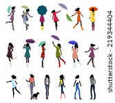 set of female silhouettes in... | Shutterstock .eps vector #219344404
