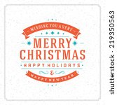 christmas retro typography and... | Shutterstock .eps vector #219350563
