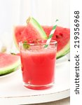 watermelon cocktail on table ... | Shutterstock . vector #219356968