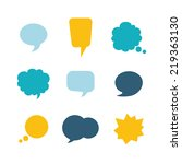 set of nine colorful speech... | Shutterstock .eps vector #219363130