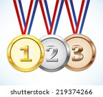 gold  silver and bronze medal | Shutterstock .eps vector #219374266