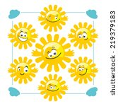 collection of cute cartoon suns ... | Shutterstock .eps vector #219379183