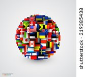 world flags in form of sphere.... | Shutterstock .eps vector #219385438