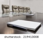closeup of notepad for agenda...   Shutterstock . vector #219413008