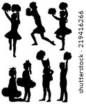 collection of silhouettes of... | Shutterstock .eps vector #219416266