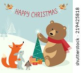 cute scene in christmas forest. | Shutterstock .eps vector #219425818