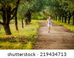beautiful girl running in the... | Shutterstock . vector #219434713